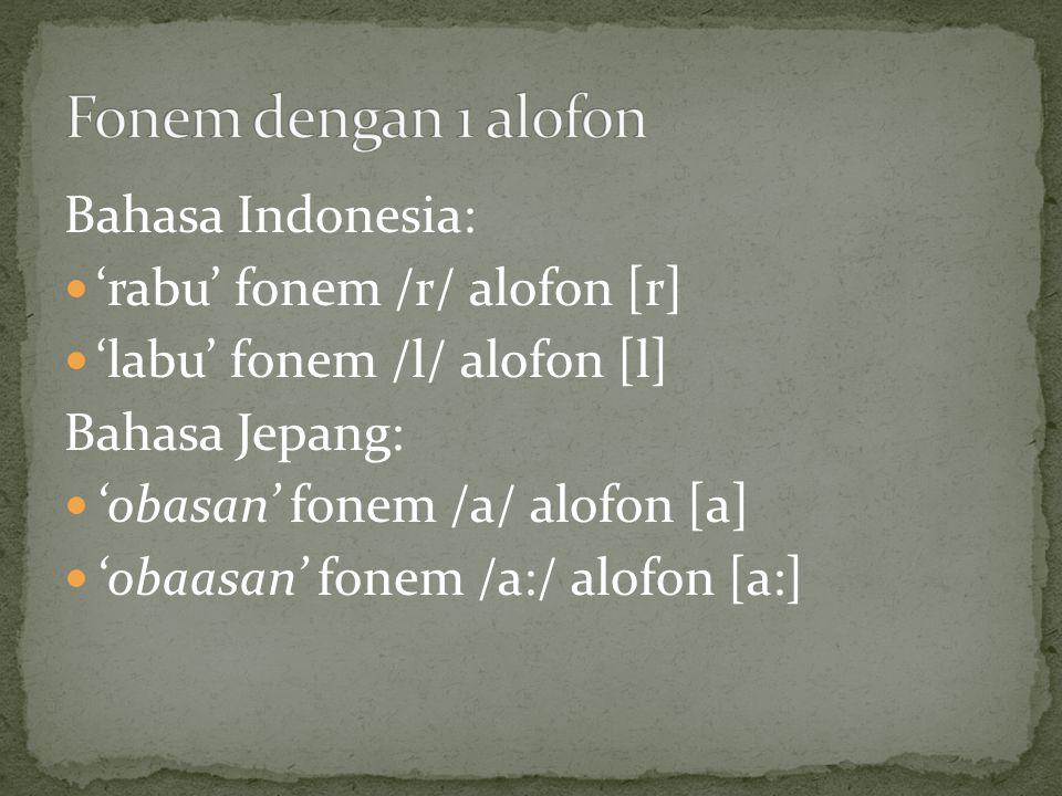 Fonem dengan 1 alofon Bahasa Indonesia: 'rabu' fonem /r/ alofon [r]